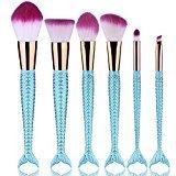 Inovaneo 6pcs set Mermaid Nylon Hair Makeup Brush Set for Foundation Colorful Rainbow Eyeshadow Colorful Rainbow (Blue)