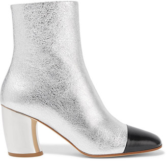 Proenza Schouler Metallic Cracked And Smooth Leather Ankle Boots