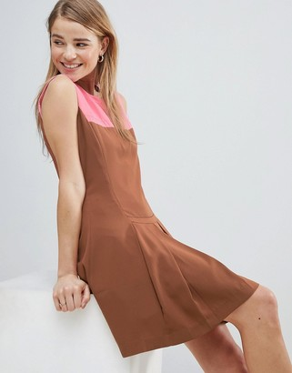Louche Drop Hem Dress With Pleated Skirt And Contrast Neck-Brown