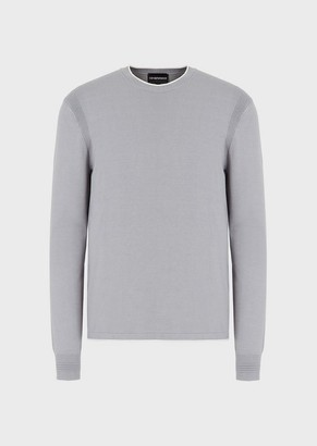 Emporio Armani Crew Neck Sweater With Ottoman Details