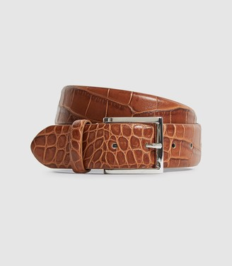 Reiss MILLY LEATHER CROCODILE PATTERNED BELT Tan