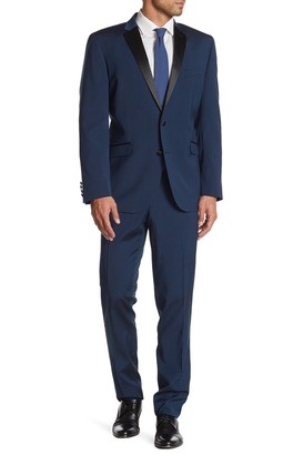 Kenneth Cole Reaction Blue Sharkskin Two Button Notch Lapel Performance Stretch Slim Fit Tuxedo