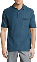 Lenor Romano Slim Cotton Pique Polo Shirt, Blue