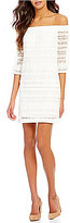 Trina Turk Hoku Smocked Lace Off-the-Shoulder 3/4 Sleeve Mini Dress