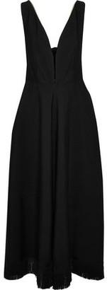 Nina Ricci Tie-back Fringe-trimmed Crepe Maxi Dress