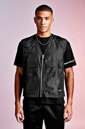 boohoo MAN Design Loose Fit Tee With Utility Vest