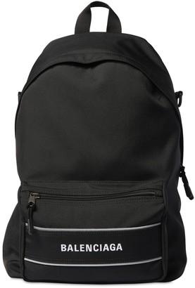 Balenciaga Logo Nylon Backpack W/ Mono Strap