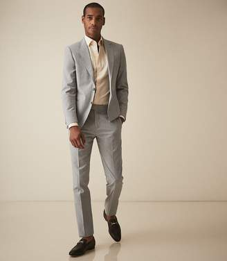 Reiss Ivy - Single Breasted Check Suit in Stone