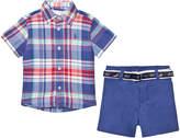 Ralph Lauren Blue Madras Shirt, Shorts and Belt Set