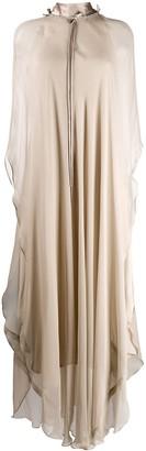 Irina Schrotter High-Neck Chiffon Cape Dress