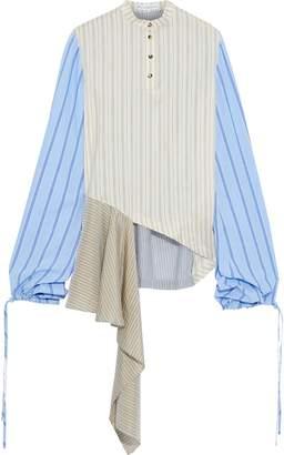 J.W.Anderson Patchwork Striped Silk Crepe De Chine, Poplin And Gauze Shirt