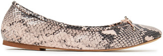 Sam Edelman Felicia Bow-embellished Snake-effect Leather Ballet Flats