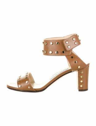 Jimmy Choo Leather Studded Accents Sandals Brown