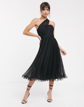 Asos Design DESIGN one shoulder tulle wired hem midi dress-Black