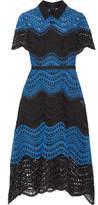Lela Rose Silk-trimmed Guipure Lace Midi Dress - Blue