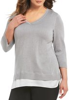 Calvin Klein Plus 3/4 Sleeve Lurex 2-Fer Sweater