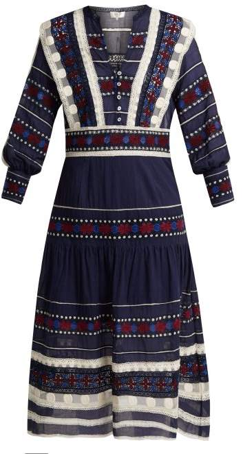 Sea Ila Lace Armour Cotton Dress - Womens - Navy Multi