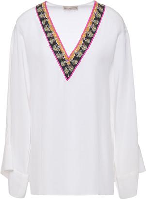 Emilio Pucci Printed Twill-trimmed Silk Crepe De Chine Blouse