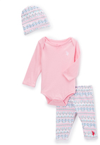 U.S. Polo Assn. Prism Pink Fair Isle Bodysuit Set - Infant