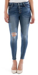 KUT from the Kloth Connie Button Fly High Waist Ankle Skinny Jeans
