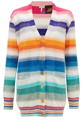 Loewe Paula's Ibiza - Striped Knitted Cardigan - Womens - Multi