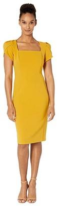 Donna Morgan Tulip Cap Sleeve Square Neck Sheath Crepe Dress (Marigold) Women's Dress