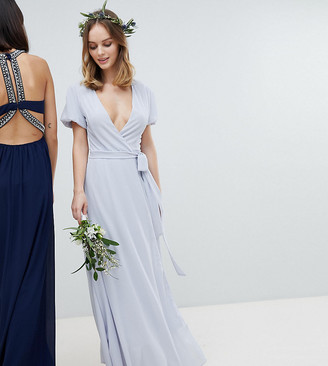 TFNC Petite Petite Wrap Maxi Bridesmaid Dress With Tie Detail And Puff Sleeves-Grey