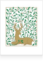 Caspari Embossed Stag with Holly Christmas Cards, Box of 10