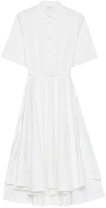 Co Sateen Short Sleeve Flared Dress in White