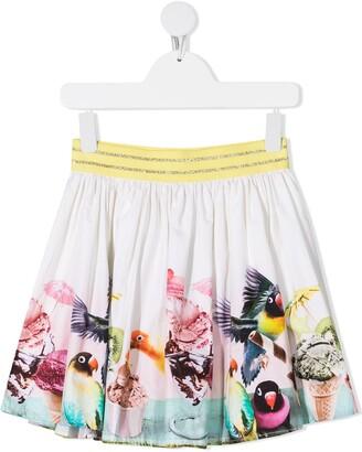 Molo Brenda bird-print organic cotton skirt