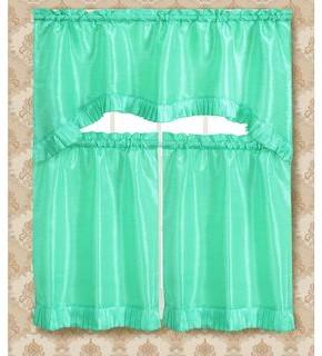 Rt Designer Collection RT Designers Collection Bermuda Ruffle Kitchen Curtain Tier Set