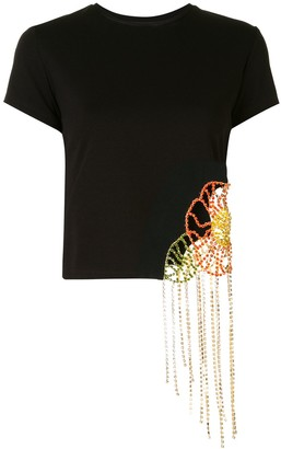 Area crystal flower embroidered T-shirt