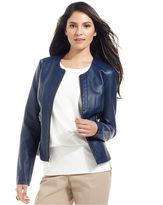 Alfani Jacket, Collarless Faux-Leather Moto