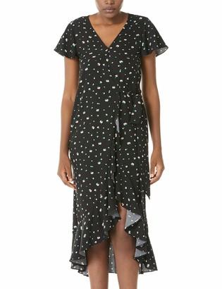 Plumberry Women's Summer Casual Short Sleeve V Neck Floral Print Vintage Dresses Black