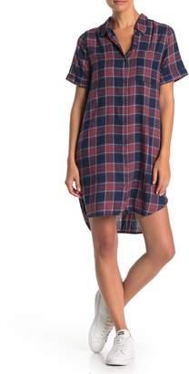 Susina Short Sleeve Plaid Button Front Dress (Regular & Petite)