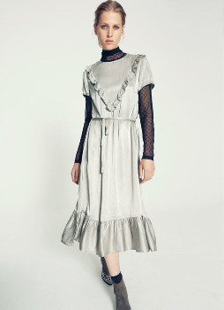 custommade Silver Bow Detailed Brith Dress - xs | silver - Silver/Silver