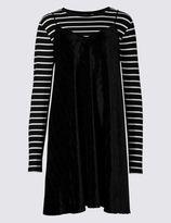 Marks and Spencer Velvet Dress & Striped Top Set