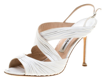 Manolo Blahnik White Leather Ankle Strap Sandals Size 41