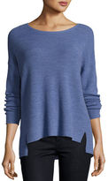 Eileen Fisher Long-Sleeve Boxy Ribbed Merino Wool Top