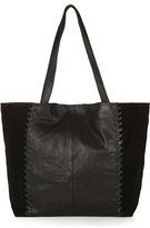 Topshop 'Woody' Whipstitch Detail Leather Shopper Bag