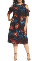 London Times Plus Size Women's Cold Shoulder Floral A-Line Dress