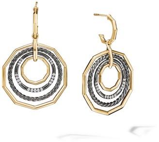 David Yurman Stax Large Drop Earrings In Blackened Silver With Diamonds