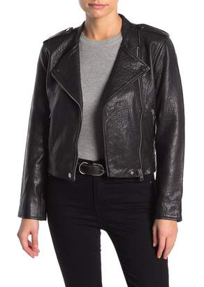 Lucky Brand Pebbled Leather Moto Jacket