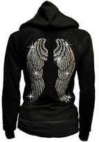 Unknown Lady Plus Size Angel Wings Zip up Hoodie Sweater with Rhinestones Front & Back (2X-Large)