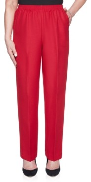 Alfred Dunner Petite Classic Textured Short Solid Pull-On Pants