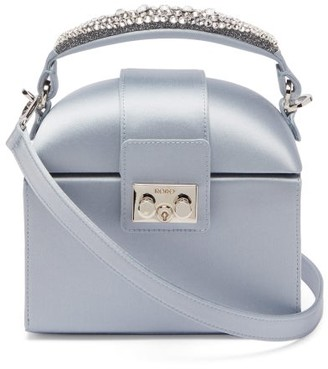 Rodo Trunk Crystal-embellished Satin Cross-body Bag - Light Blue