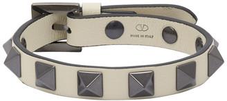 Valentino Off-White Garavani Leather Rockstud Bracelet