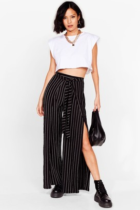 Nasty Gal Womens Power Stride Stripe Belted Wide-Leg Pants - Black