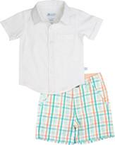 RuffleButts Short-Sleeve Dobby Shirt w/ Presley Plaid Shorts, Size 3M-5
