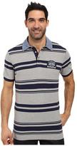 U.S. Polo Assn. Bar Code Stripe Pique Polo Shirt with Chambray Collar